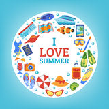 Summer vacation concept circle composition poster Royalty Free Stock Photo