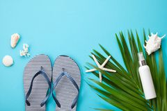 Summer vacation concept flat lay. Beach accessories and sea shells top view Stock Photography