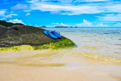 Summer vacation concept--Flipflops on a sandy ocean beach Stock Photography