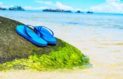 Summer vacation concept--Flipflops on a sandy ocean beach Stock Images
