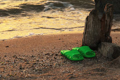 Summer vacation concept. green Flipflops on a sandy ocean beach.Wild uncomfortable beach. The sunset, the beach, the Royalty Free Stock Photography