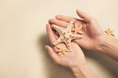 Summer vacation concept: Hands holding shells and starfish on th Royalty Free Stock Image