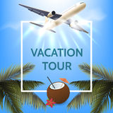Summer vacation concept. Illustration with white square frame. Palm leaves, airplane, coconut cocktail on sunny sky Stock Images