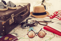 Summer vacation concept. On the map Stock Image