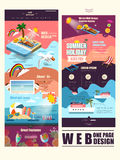 Summer vacation concept one page website template design Royalty Free Stock Image