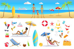 Summer Vacation Concept Template Set Stock Photography