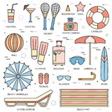 Summer vacation concept in thin lines style design. Beach umbrella, lifebuoy, diving, equipment, towel, ocean, supplie Royalty Free Stock Photography