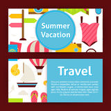 Summer Vacation Concept and Travel Strategy Modern Flat Style Ve Royalty Free Stock Photos