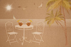 Summer vacation concept on wet sand texture Royalty Free Stock Image