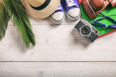 Summer vacation concept on white background - top view stock image