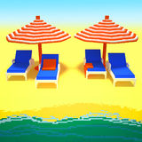 Summer vacation 3d art. 3d image of a little landscape with sandy beach, sea waves, striped red and white sun umbrellas, comfy chairs, and a few forgotten towels Royalty Free Stock Photos