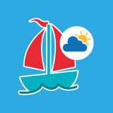 Summer vacation design sailing boat icon Stock Photography