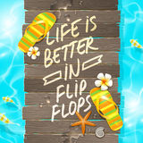 Summer vacation design. Wooden gangway Royalty Free Stock Images
