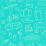 Summer vacation doodle seamless pattern. Summer vacation cartoon doodle pattern including  elements: transport; suitcases and different beach stuff. Traveling Stock Image