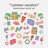 Summer vacation doodle set Royalty Free Stock Image