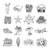 Summer vacation doodle sketch isons set. Summer vacation travel black graphic icons set with sun palm beach and martini isolated doodle vector illustration Royalty Free Stock Photos
