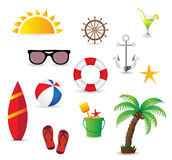 Summer vacation elements isolated on white background Royalty Free Stock Photography
