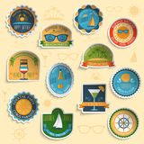 Summer vacation emblems stickers set stock illustration