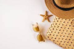 Summer vacation essentials on a white background Stock Image