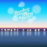 Summer vacation evening show poster with sea and fireworks Royalty Free Stock Photography