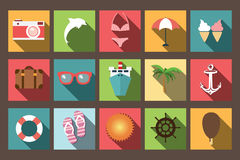 Summer vacation flat icons with long shadow, design elements. Vector illustration Stock Photo