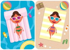 Summer Vacation Girl Stock Images