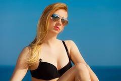 Free Summer Vacation Girl In Bikini Sunbathing On Beach Stock Photography - 44376052