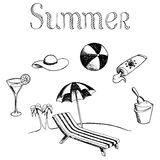 Summer vacation graphic art black white isolated illustration Royalty Free Stock Images