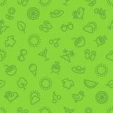 Summer and Vacation Green Seamless Pattern Stock Photos