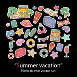 Summer vacation hand draw set Stock Photography