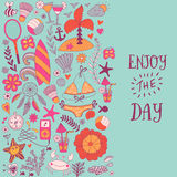 Summer vacation hand drawn vector elementss and objects, beach symbols. Royalty Free Stock Photo