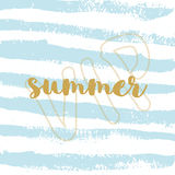Summer vacation handwriting. Typography, lettering and calligraphy. Poster flyer design template vector illustration
