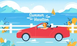 Summer Vacation Happy Couple on Red Cabriolet Car. Summer Vacation Horizontal Banner. Happy Couple Driving Red Cabriolet Car on Seascape Background. Young Man vector illustration