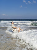 Summer vacation: Happy man near sea Stock Photos