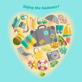 Summer vacation heart composition icon poster Royalty Free Stock Images