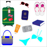 Summer vacation / holiday accessories Stock Photos