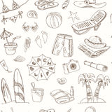 Summer vacation holiday doodle seamless pattern. Stock Photography