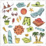 Summer vacation holiday doodle set. Royalty Free Stock Images