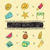 Summer vacation holiday icons background. EPS 10. Summer vacation holiday icons  background Royalty Free Stock Photos