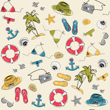 Summer vacation holiday seamless pattern. With marine icons Royalty Free Stock Image