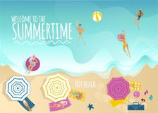 Summer vacation banner with top view of people sunbathing on beach and swimming in sea. Summer vacation and holiday time banner with top view of people Royalty Free Stock Photo