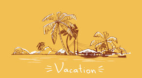 Summer Vacation Holiday Tropical Ocean Island With Palm Tree Royalty Free Stock Images