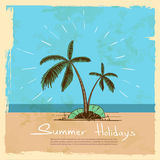 Summer Vacation Holiday Tropical Ocean Island With Palm Tree Stock Photography