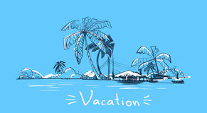 Summer Vacation Holiday Tropical Ocean Island With Palm Tree Stock Photo