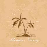 Summer Vacation Holiday Tropical Ocean Island With Palm Tree Royalty Free Stock Photos