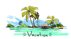 Summer Vacation Holiday Tropical Ocean Island With Palm Tree. Vector Illustration Royalty Free Stock Photo