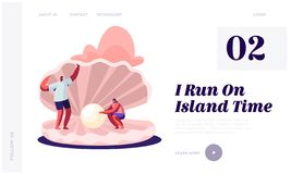 Summer Vacation, Holidays, Trip, Website Landing Page, Happy Couple of Tourists Man and Woman Stand at Huge Seashell stock illustration