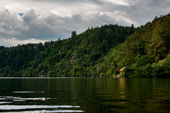 Summer vacation house on the river banks of Vltava Royalty Free Stock Image