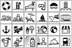 Summer Vacation Icon Collection. 24 Black and White Illustrations, Vector Stock Images
