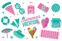 Summer vacation icon set in flat cartoon style stock illustration
